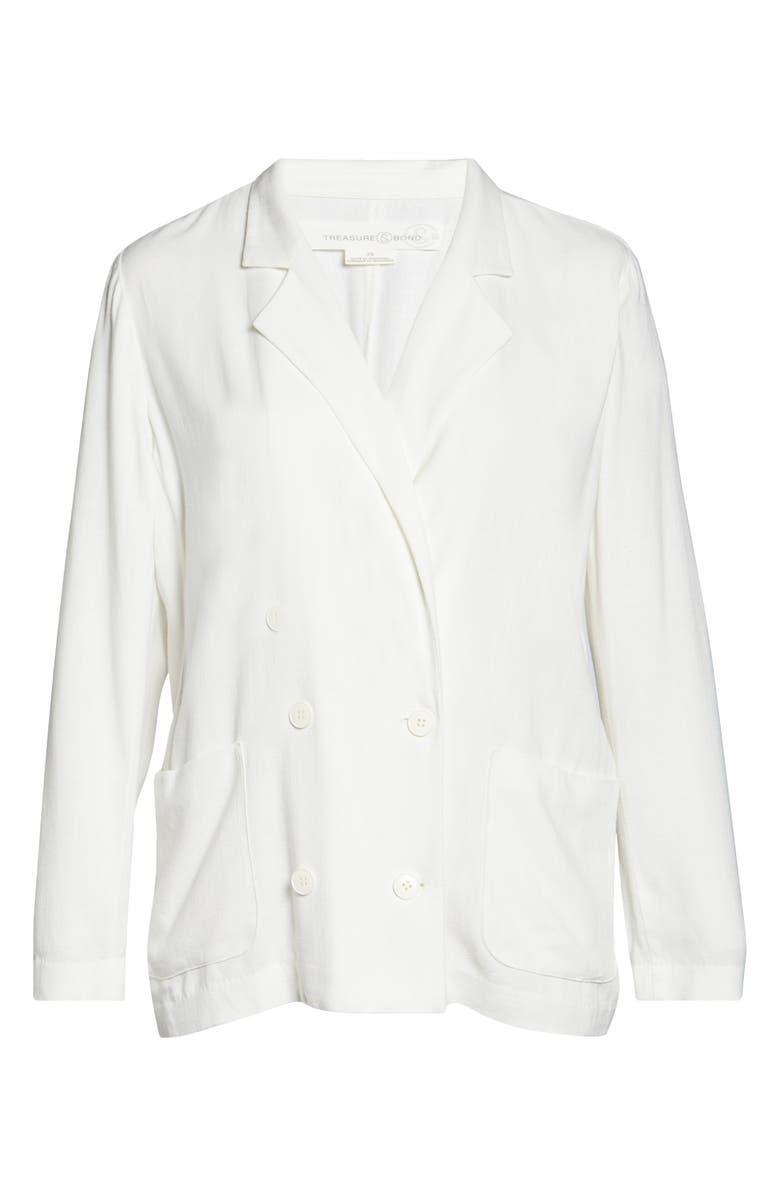 TREASURE & BOND Double Breasted Blazer, Main, color, IVORY EGRET