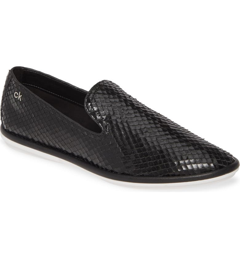 CALVIN KLEIN Issa Armatura Embossed Loafer, Main, color, BLACK LEATHER
