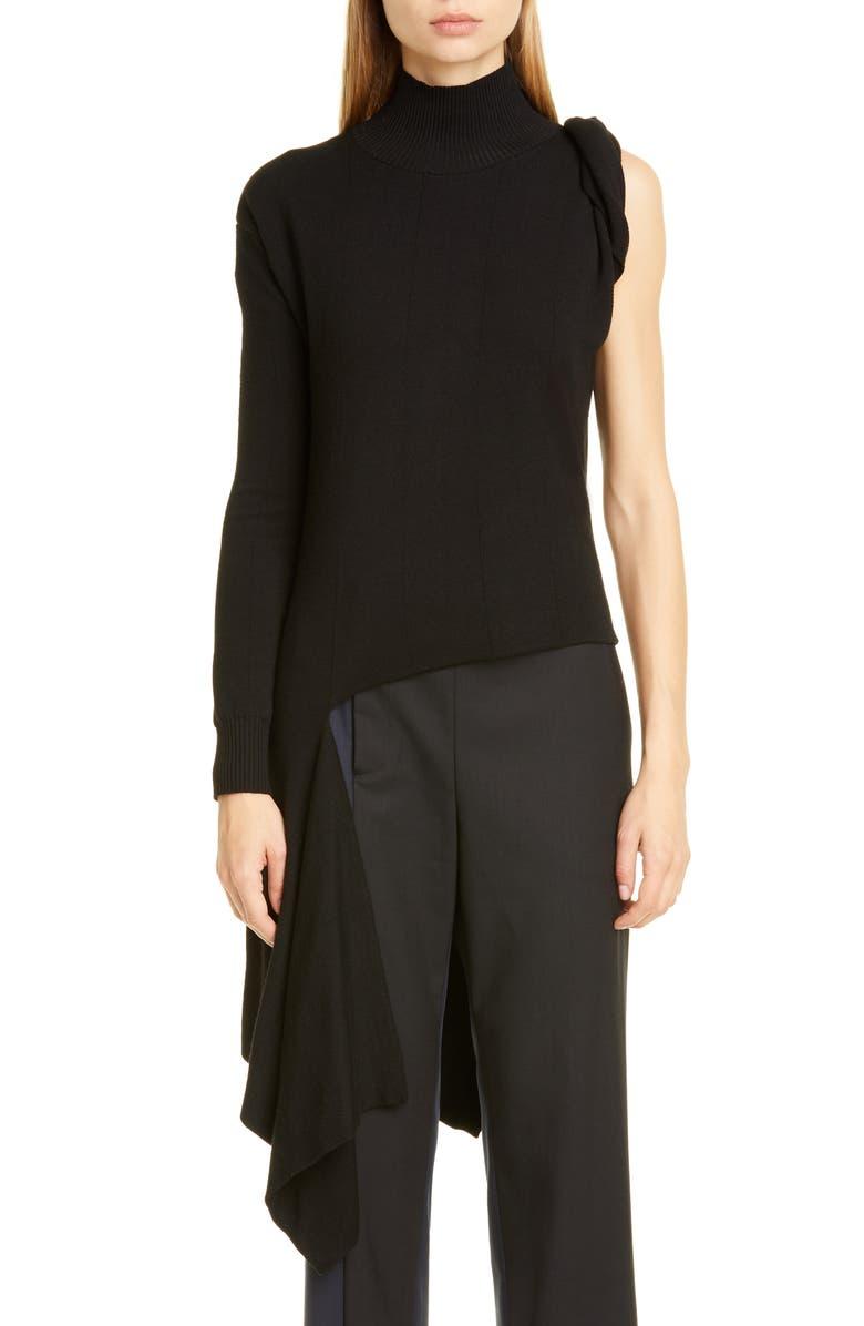 MONSE Asymmetrical One-Shoulder Merino Wool Sweater, Main, color, BLACK