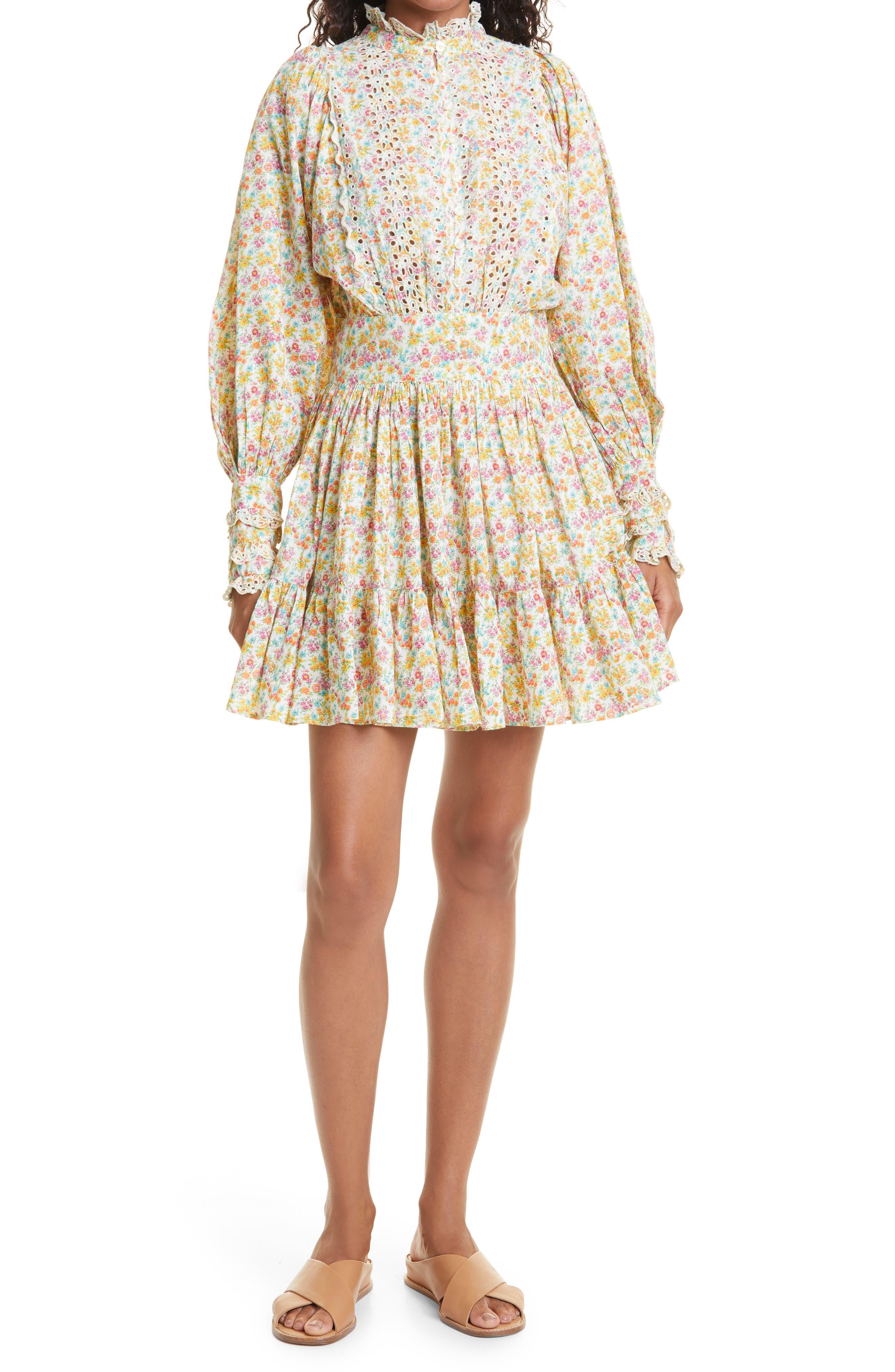 Flower Garden Long Sleeve Cotton Minidress