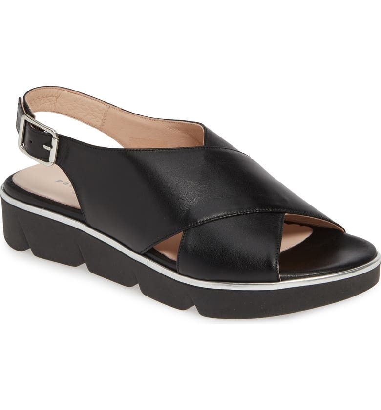 PATRICIA GREEN Candace Slingback Wedge Sandal, Main, color, BLACK LEATHER