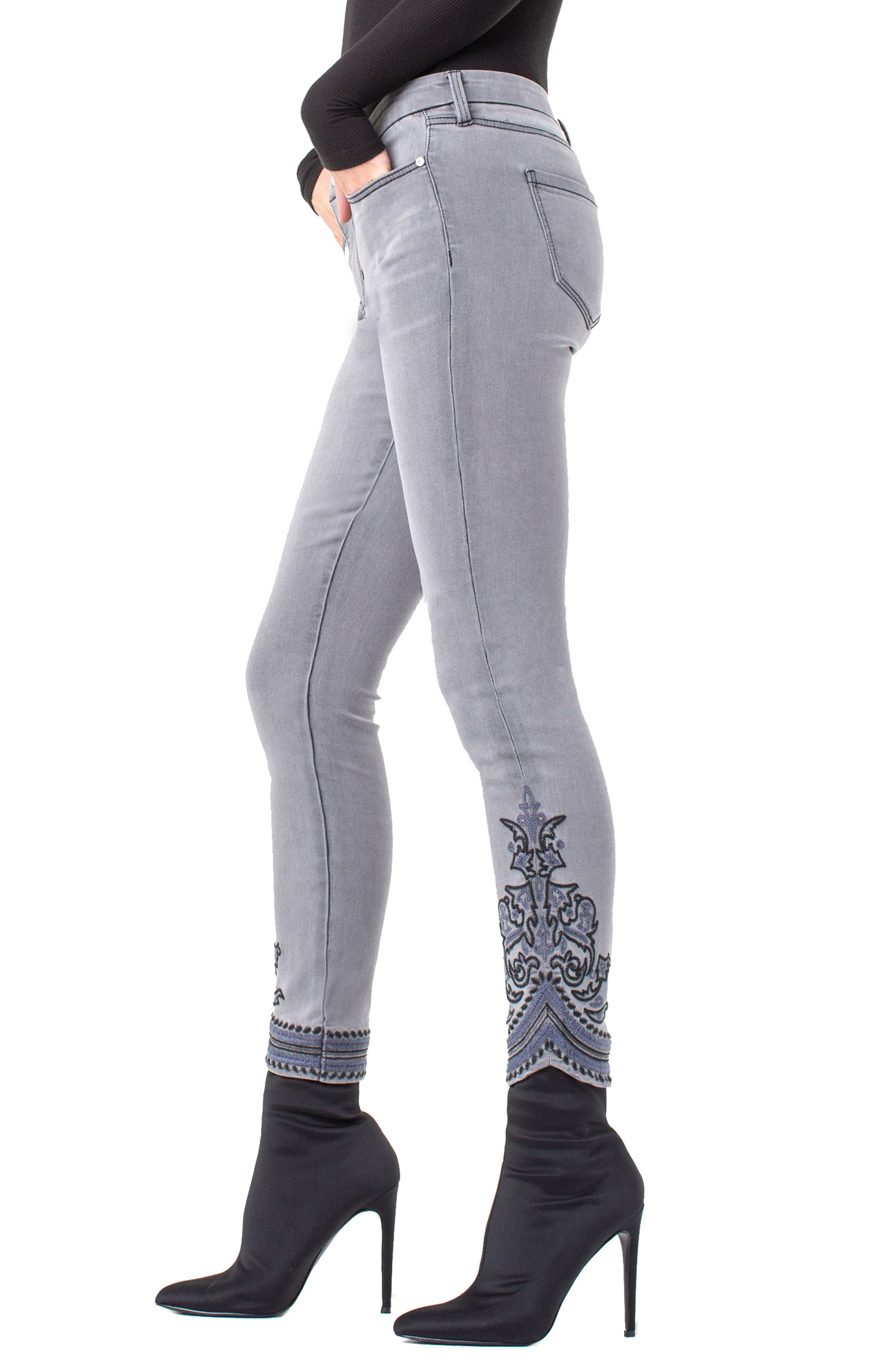 ,                             LVPL by Liverpool Kayden Embroidered Hem Ankle Jeans,                             Alternate thumbnail 3, color,                             023