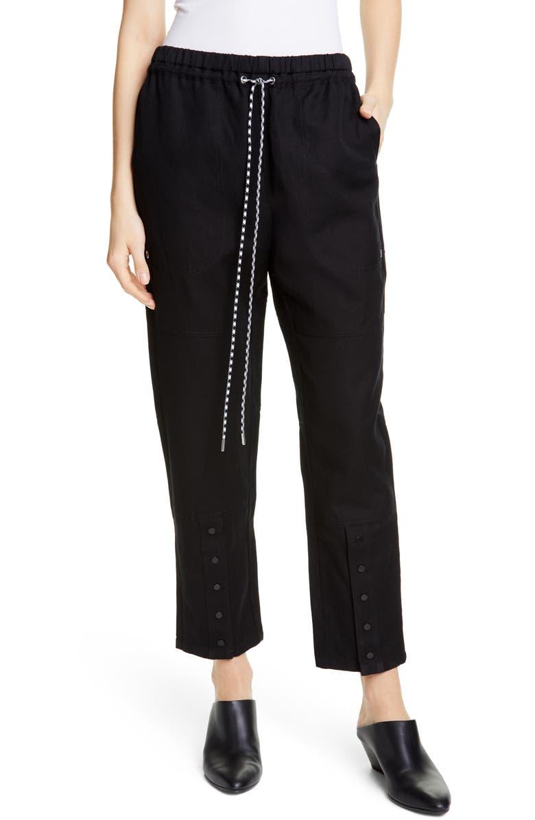 PROENZA SCHOULER WHITE LABEL Proenza Schouler PSWL Snap Hem Drawstring Waist Pants, Main, color, BLACK
