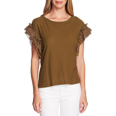 Vince Camuto Eyelet Trim Mixed Media Top, Green