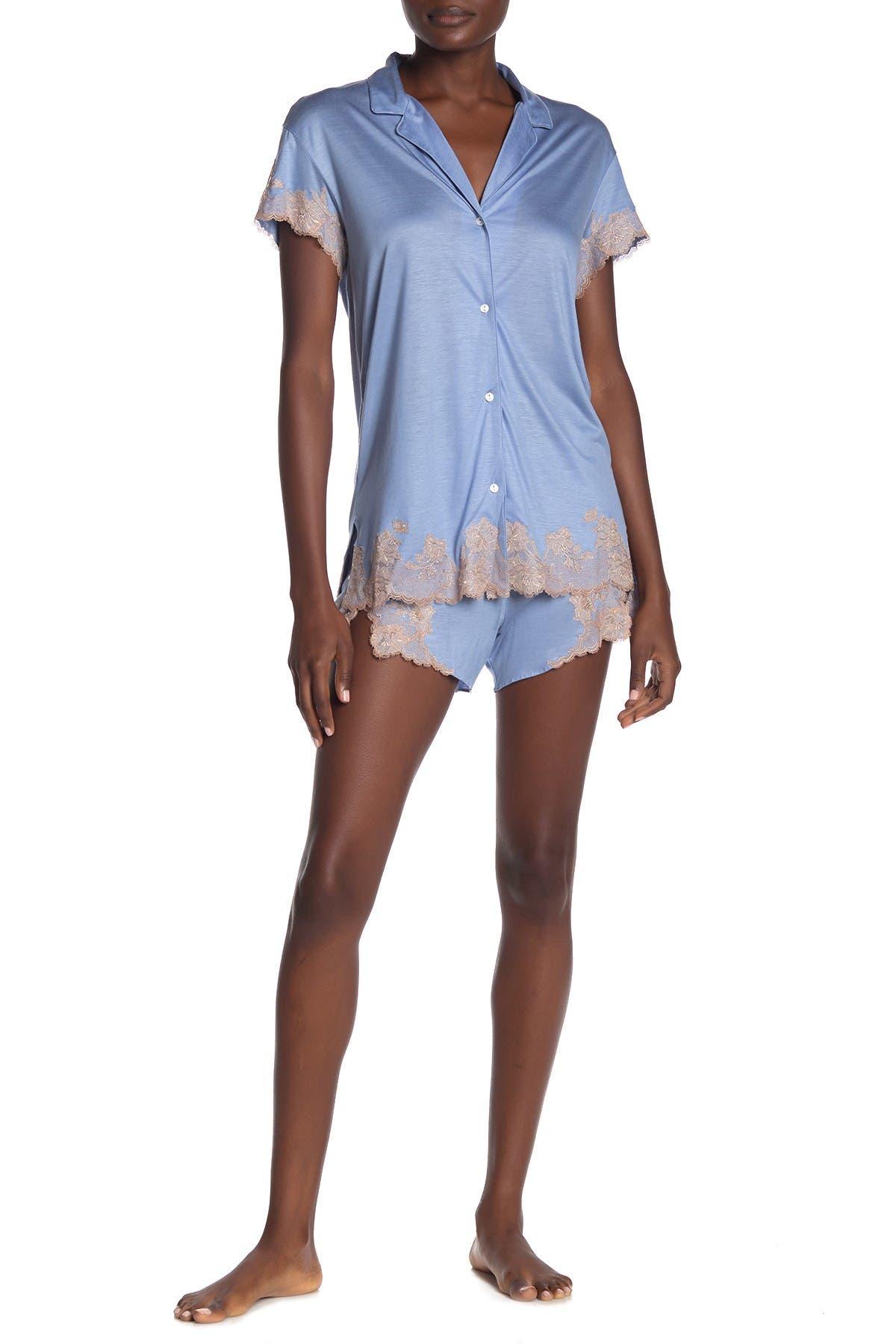Image of Josie Natori Notch Collar Shirt & Shorts Pajama 2-Piece Set