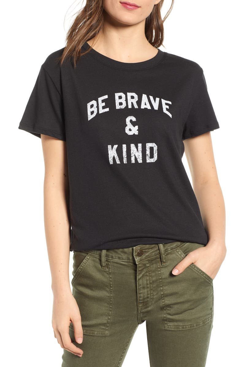SUB_URBAN RIOT Be Brave & Kind Loose Tee, Main, color, BLACK