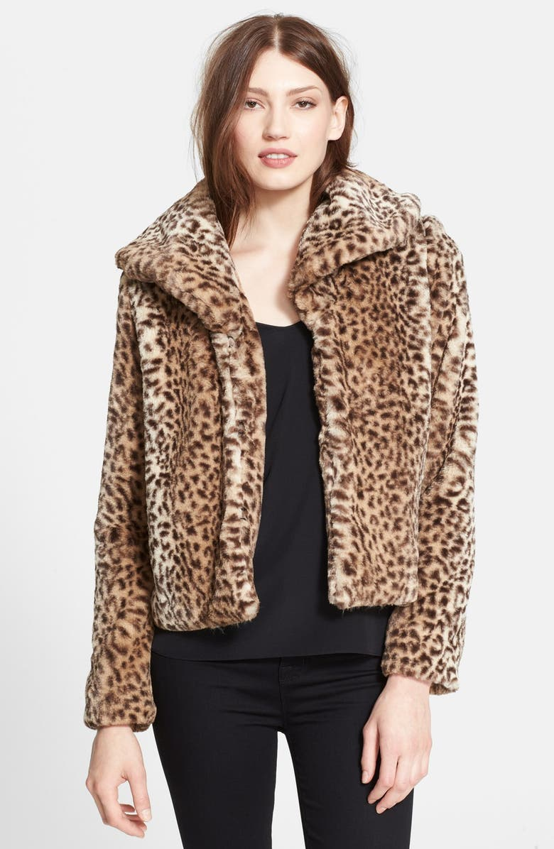 TRUTH & PRIDE Leopard Print Faux Fur Crop Jacket, Main, color, 210