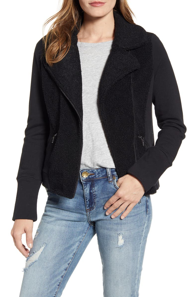 Mixed Fleece Moto Jacket by Caslon®