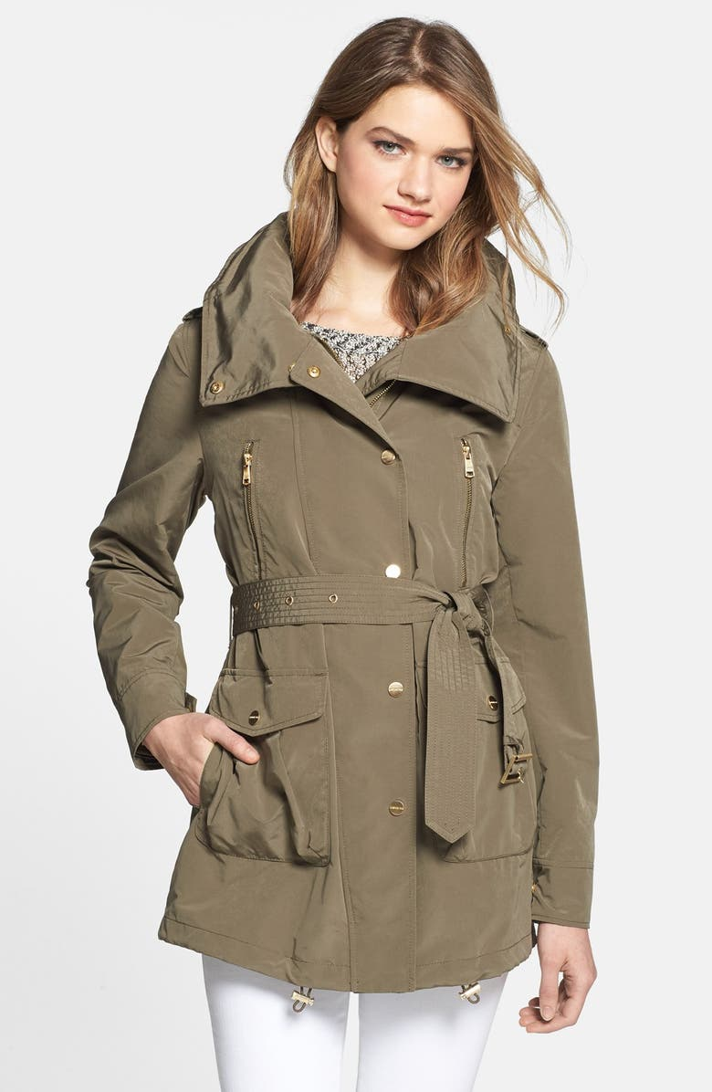 LONDON FOG Asymmetrical Snap Front Trench Coat with Hidden Hood, Main, color, 346