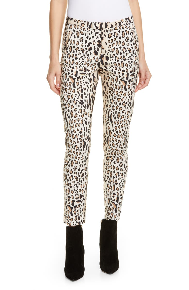 ATM ANTHONY THOMAS MELILLO Leopard Print Slim Pants, Main, color, CAMEL/ BLACK COMBO