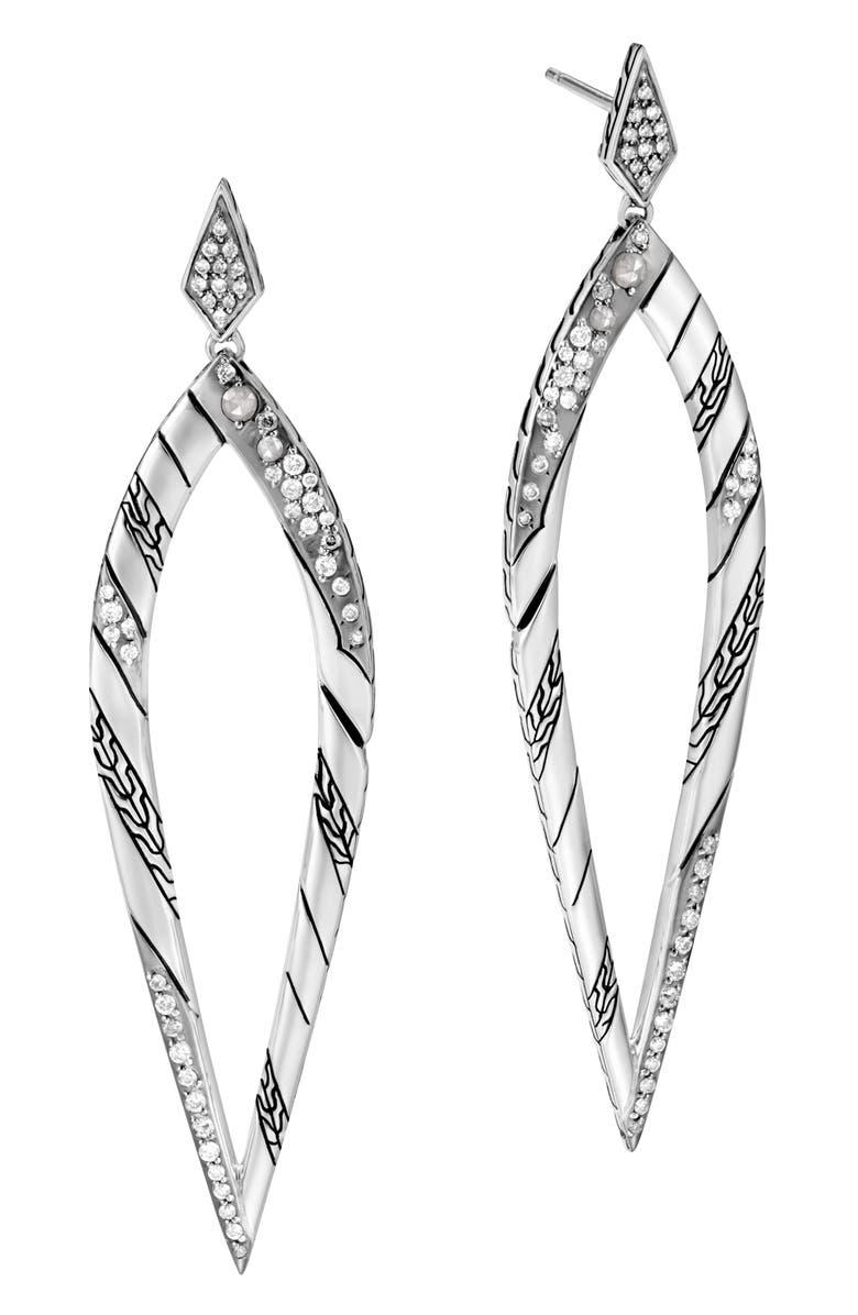 JOHN HARDY Lahar Long Drop Earrings with Diamonds, Main, color, SILVER/ DIAMOND
