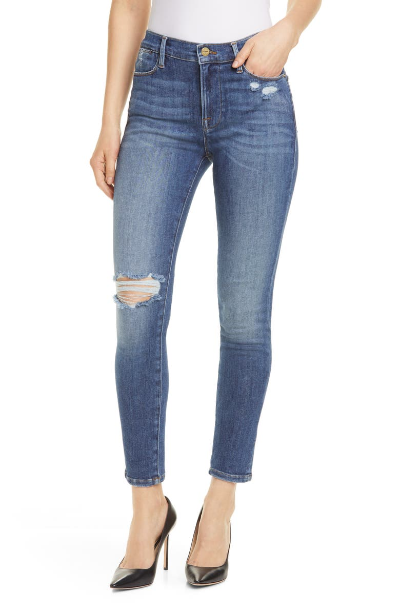 Le High Waist Skinny Jeans, Main, color, SAXON