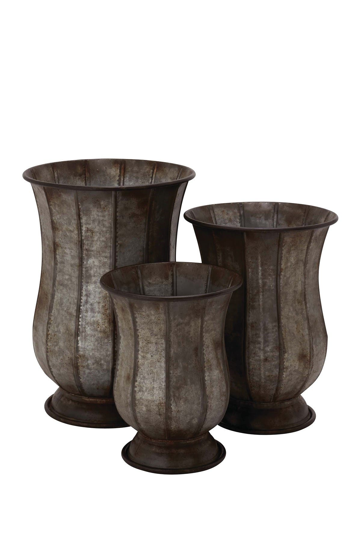Image of Willow Row Grey Farmhouse Distressed Iron Pedestal Planter - Set of 3