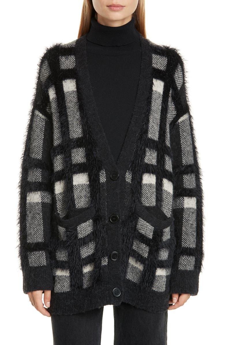 EQUIPMENT Cisse Textured Plaid Cardigan, Main, color, TRUE BLACK MULTI