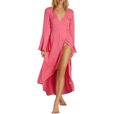 Billabong Flair Fare Long Sleeve Maxi Wrap Dress, Pink