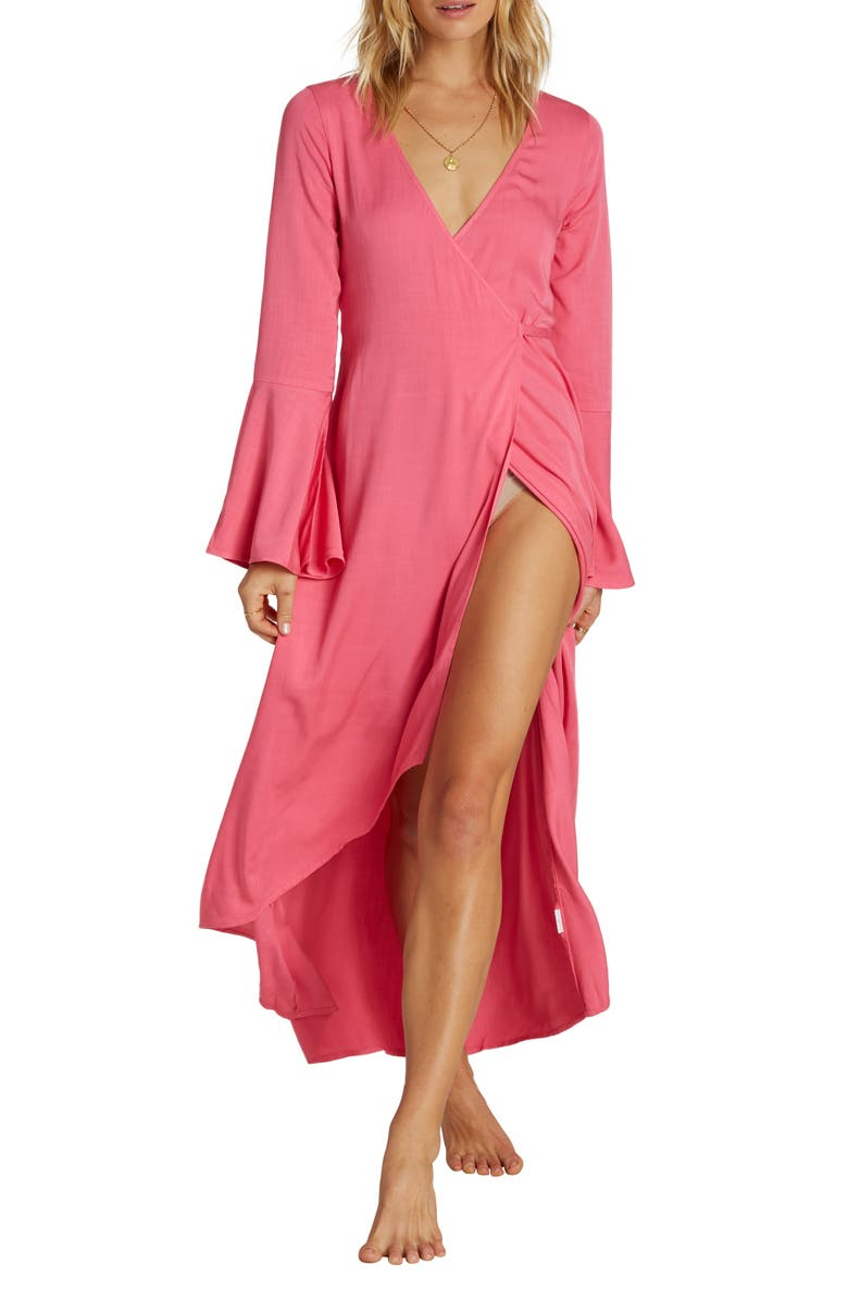 BILLABONG Flair Fare Long Sleeve Maxi Wrap Dress, Main, color, SUNSET PINK