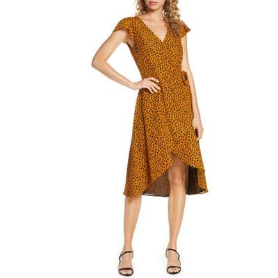 Bb Dakota Leopard Print Wrap Midi Dress, Brown