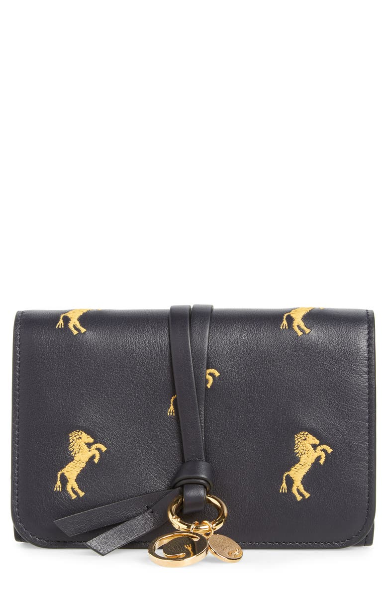 4147a03840 Chloé Alphabet Embroidered Leather Wallet | Nordstrom