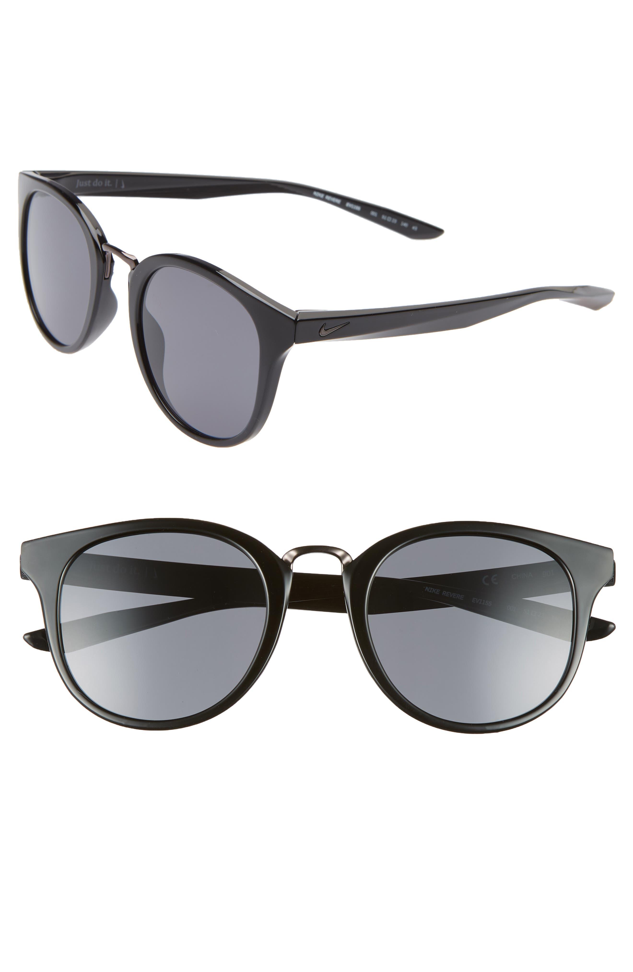 Nike Revere 51Mm Round Sunglasses - Black/ Dark Grey
