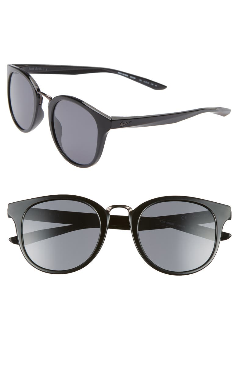 NIKE Revere 51mm Round Sunglasses, Main, color, BLACK/ DARK GREY