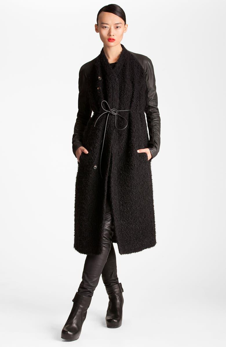 RICK OWENS Long Leather Trim Coat, Main, color, 001