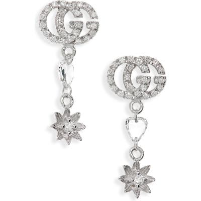 Gucci Flora Gg Diamond Drop Earrings