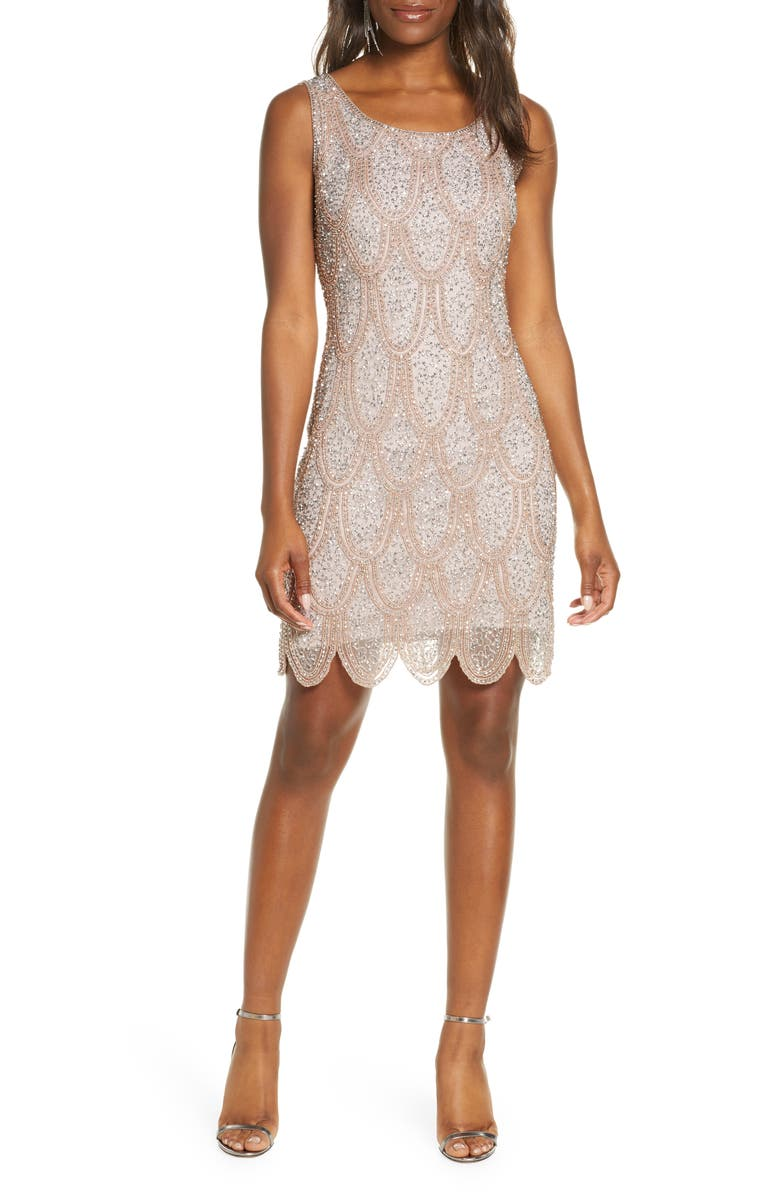 PISARRO NIGHTS Beaded Cocktail Minidress, Main, color, PEARL