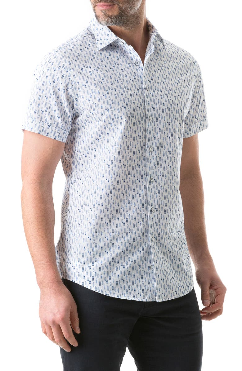 RODD & GUNN Emerald Hill Regular Fit Short Sleeve Button-Up Shirt, Main, color, FOAM