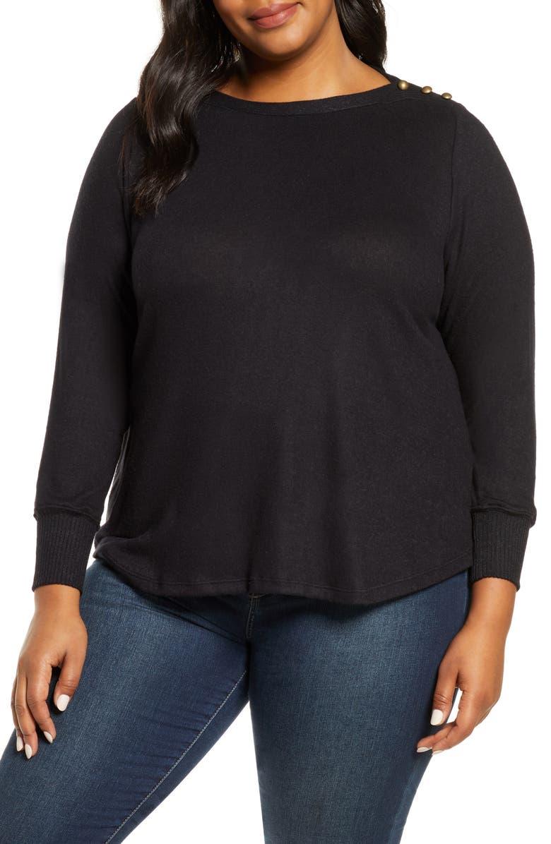 BOBEAU Cozy Button Detail Brushed Sweater, Main, color, BLACK