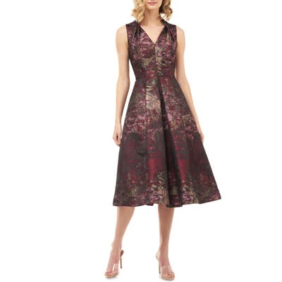 Kay Unger Lolita Abstract Jacquard Cocktail Dress, Burgundy