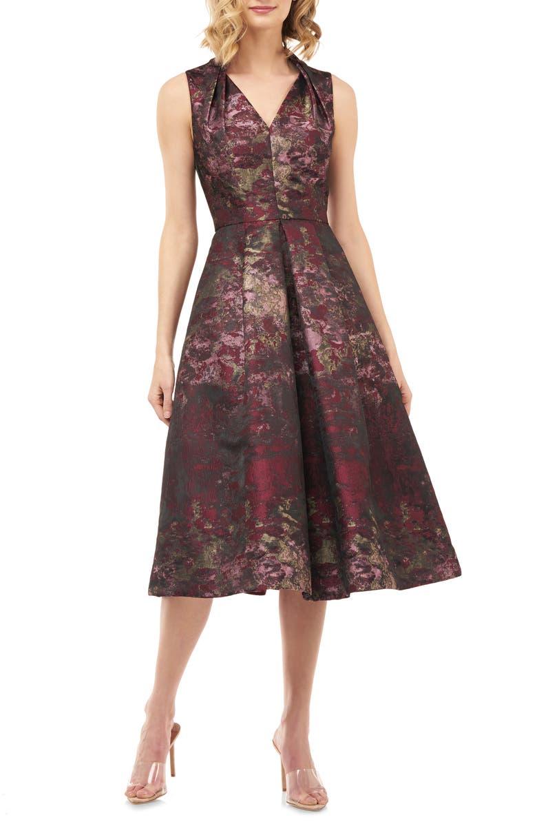 KAY UNGER Lolita Abstract Jacquard Cocktail Dress, Main, color, BORDEAUX MULTI
