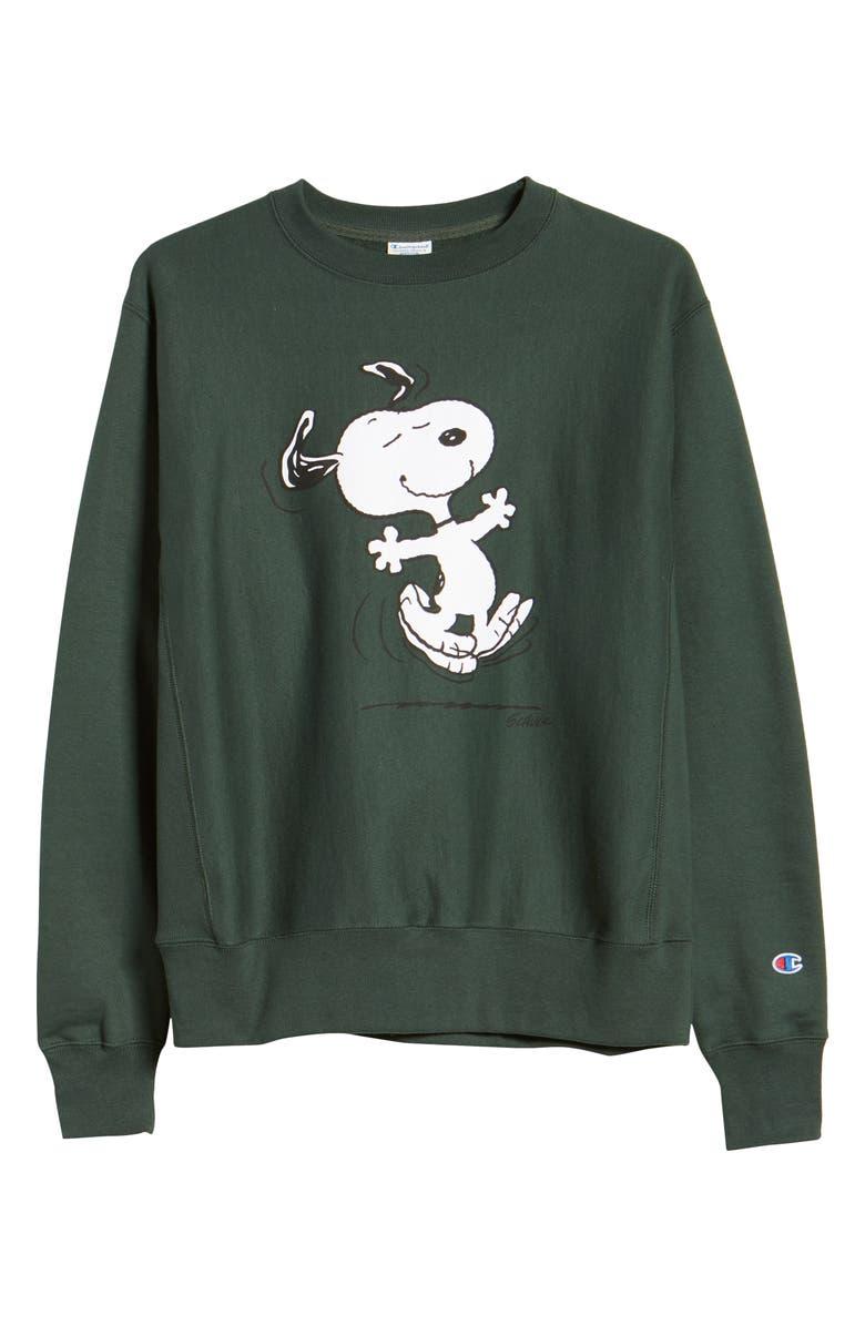 CHAMPION x Peanuts<sup>®</sup> Dancing Snoopy Graphic Sweatshirt, Main, color, DARK GREEN