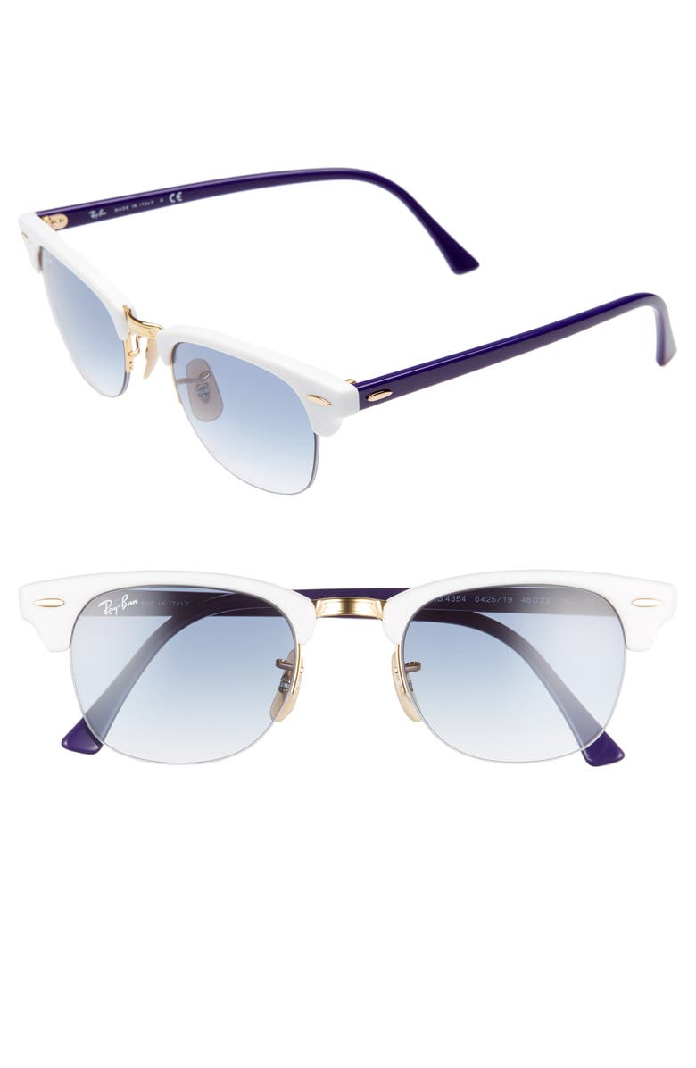 RAY-BAN 48mm Gradient Clubmaster Sunglasses, Main, color, WHITE GRADIENT