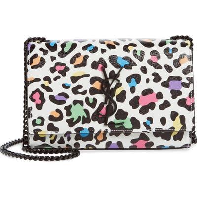 Saint Laurent Small Kate Leopard Print Leather Crossbody Bag - White
