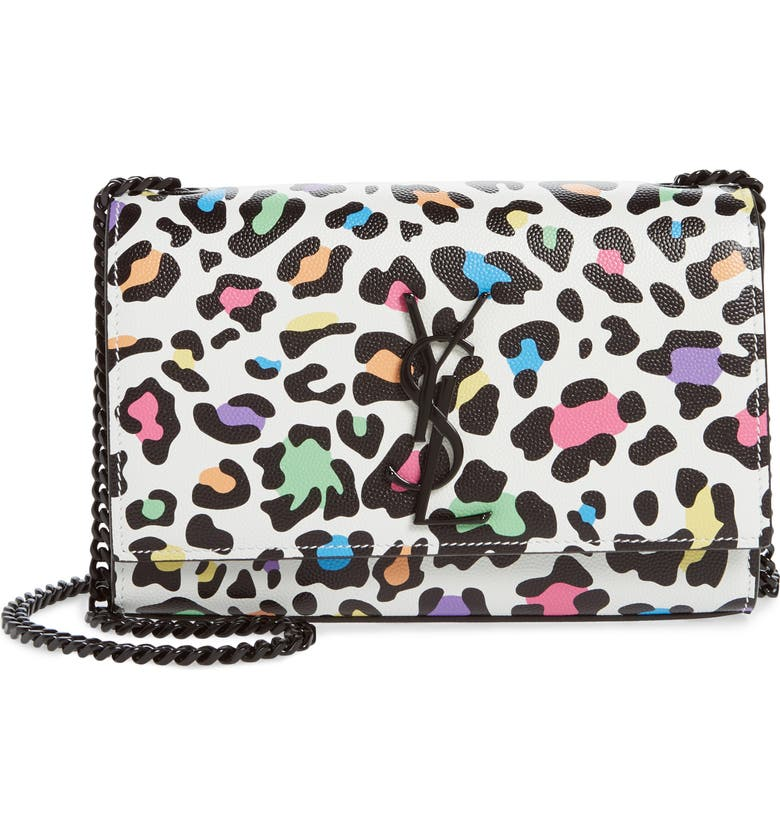 SAINT LAURENT Small Kate Leopard Print Leather Crossbody Bag, Main, color, WHITE MULTI