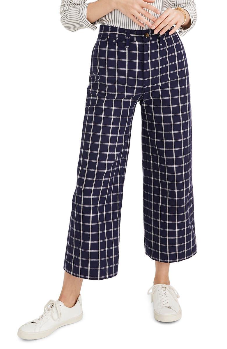 MADEWELL Emmett Windowpane Plaid Crop Wide Leg Pants, Main, color, DARK MIDNIGHT