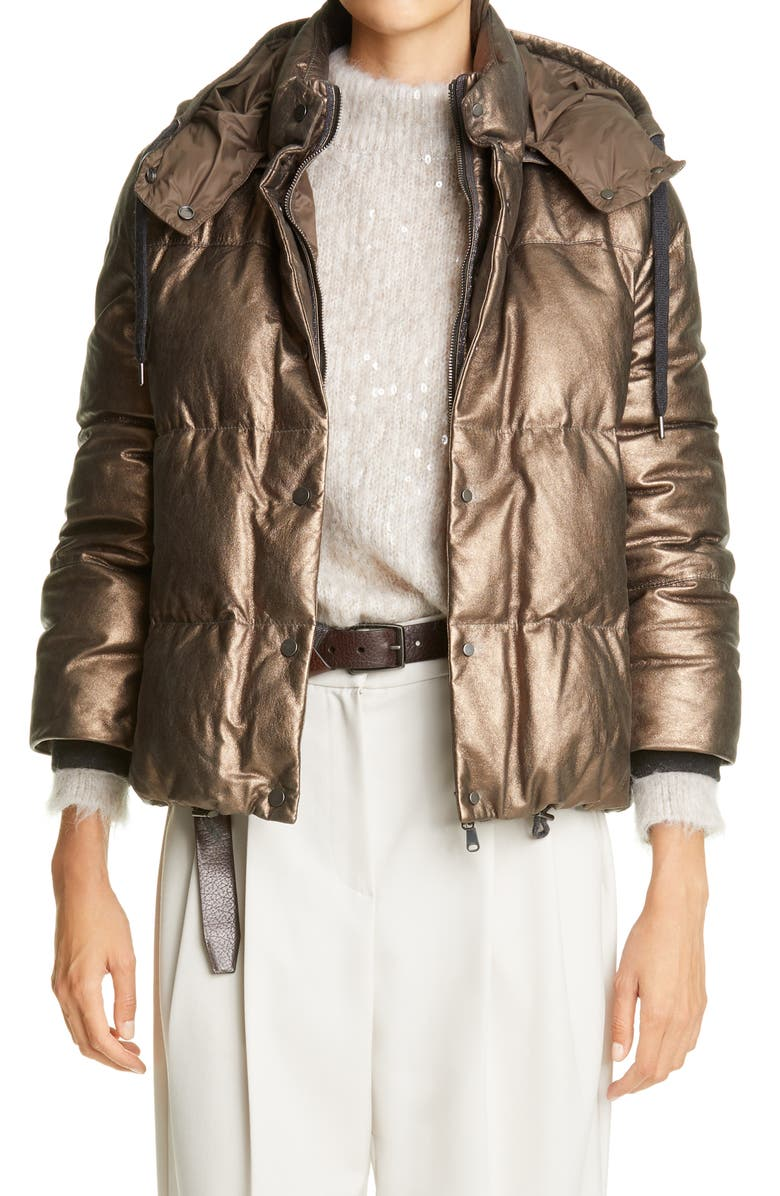 BRUNELLO CUCINELLI Metallic Suede Hooded Down Puffer Jacket, Main, color, BRONZE