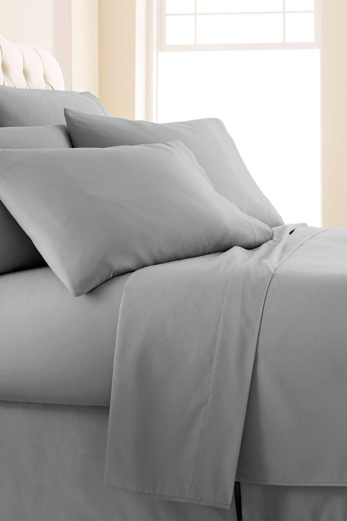 Image of SOUTHSHORE FINE LINENS Queen Sized Southshore Essentials Double Brushed 100 GSM Sheet Set - Steel Grey