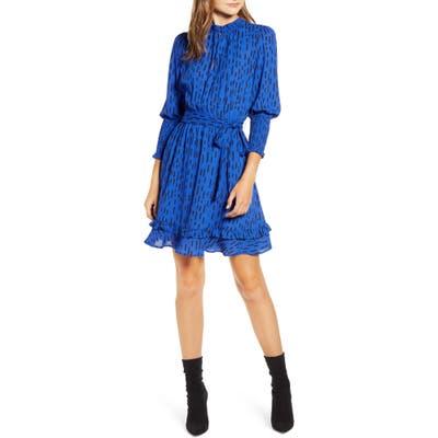 Rebecca Minkoff Bianca Dash Pattern Ruffle Hem Dress, Blue