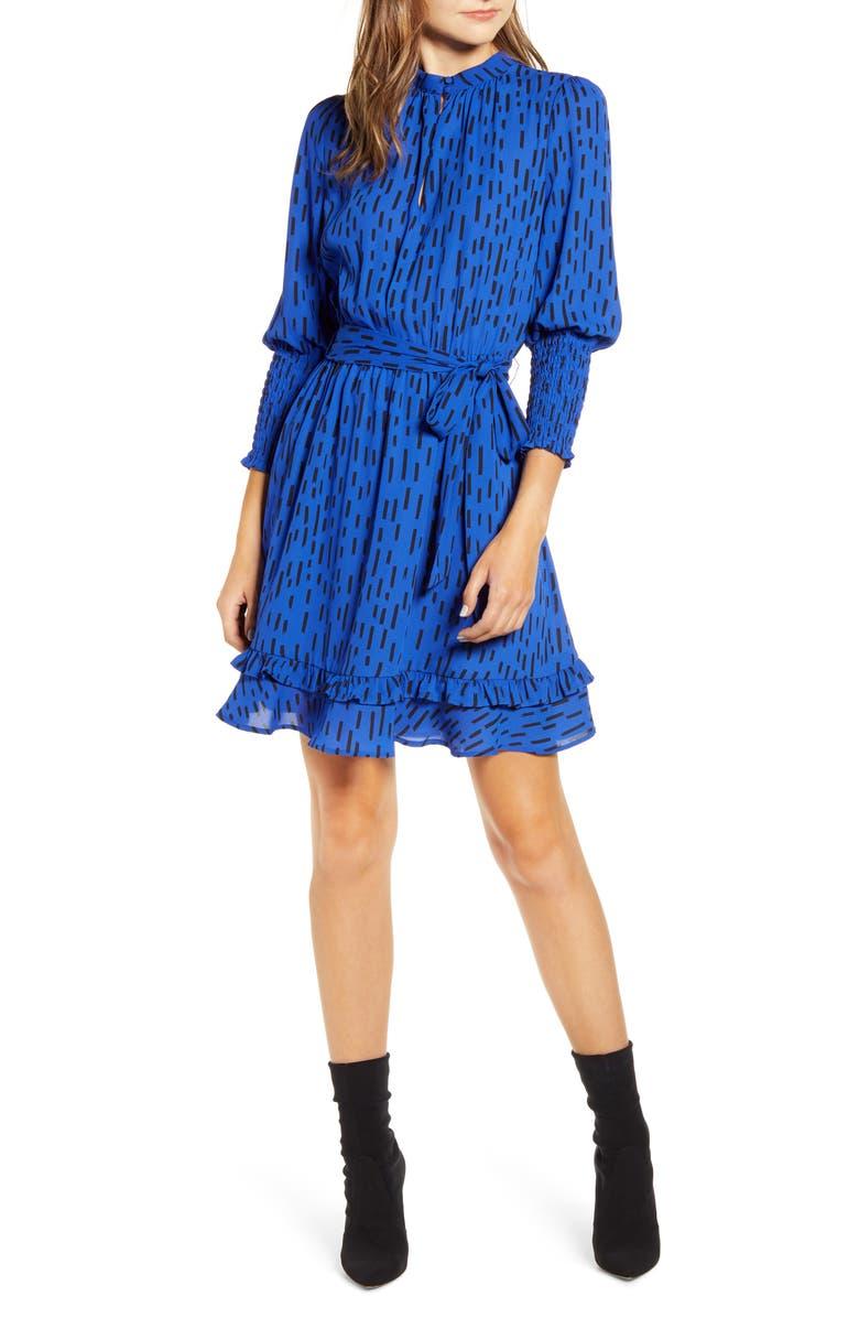 REBECCA MINKOFF Bianca Dash Pattern Ruffle Hem Dress, Main, color, 400
