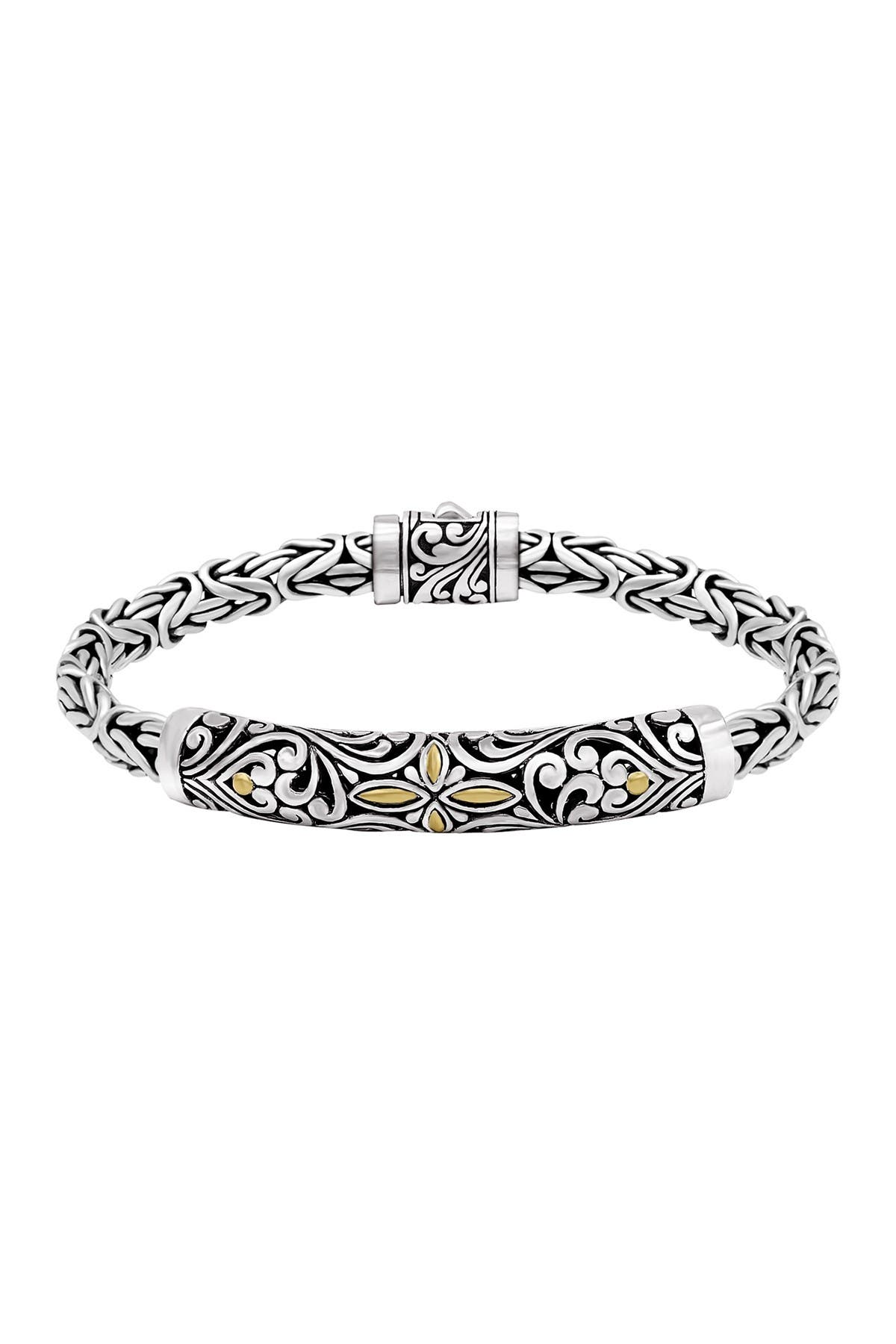 Image of DEVATA Bali Heritage Classic Bracelet with Byzantine Chain in Sterling Silver with 18K Yellow Gold for Men
