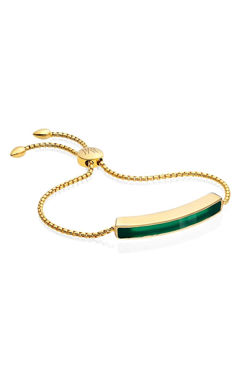MONICA VINADER Engravable Baja Stone Bracelet, Main, color, YELLOW GOLD/ GREEN ONYX