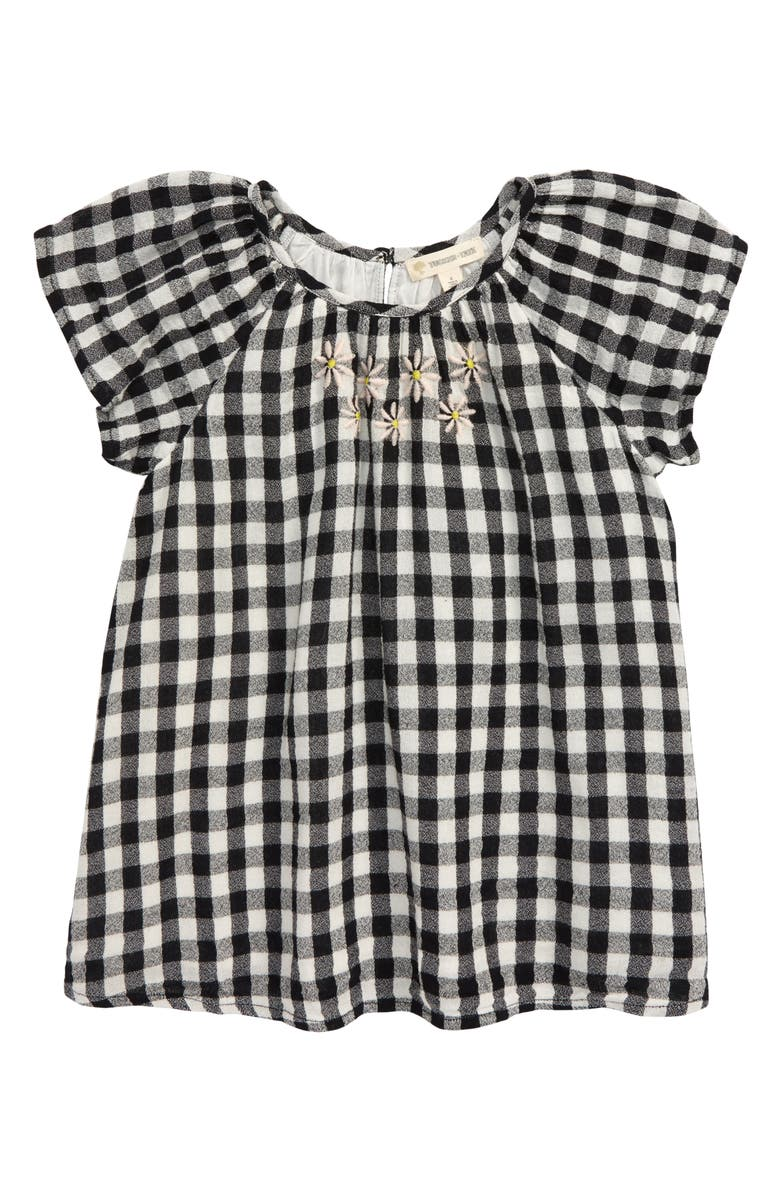 TUCKER + TATE Embroidered Gingham Check Top, Main, color, BLACK- IVORY GINGHAM