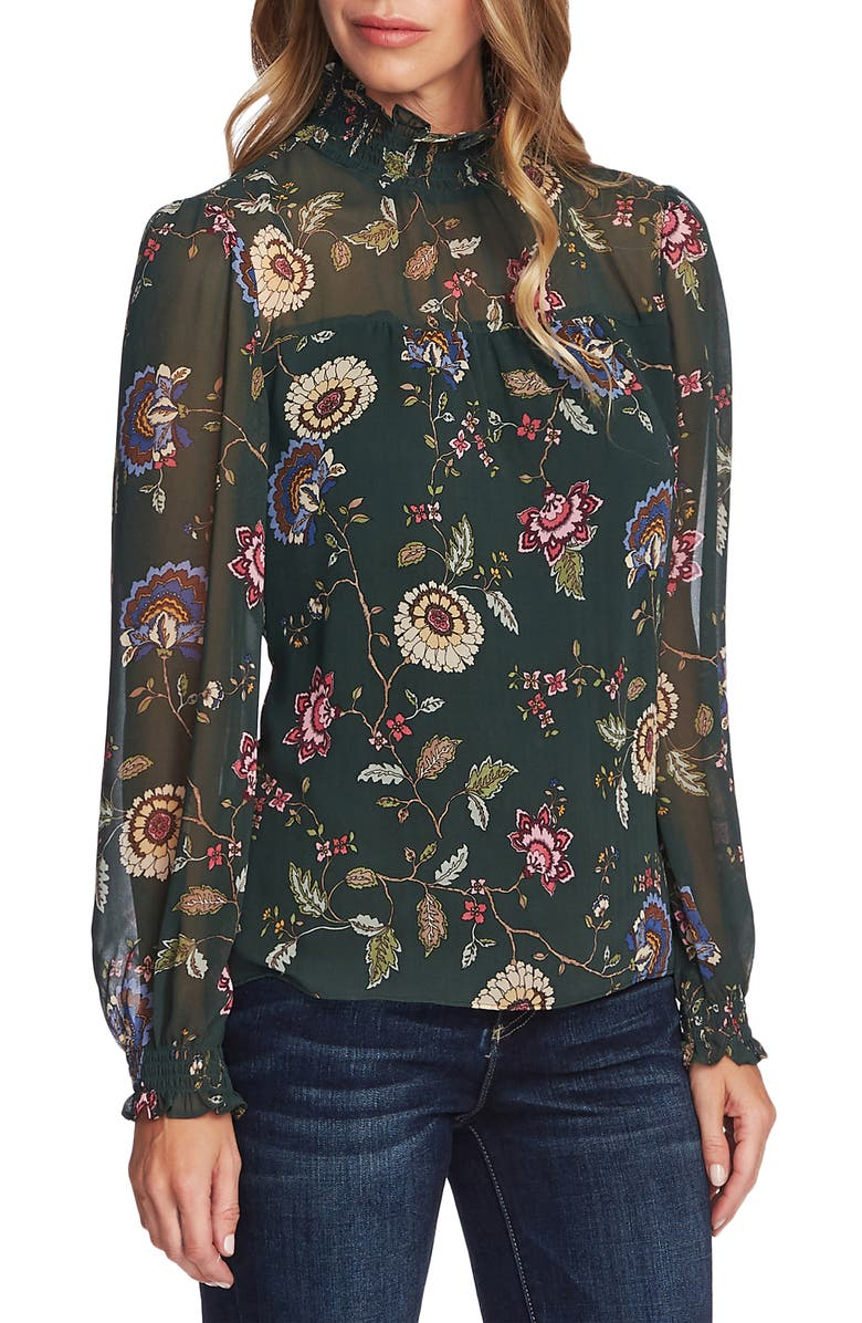 VINCE CAMUTO Windsor Floral Chiffon Top, Main, color, DARK WILLOW