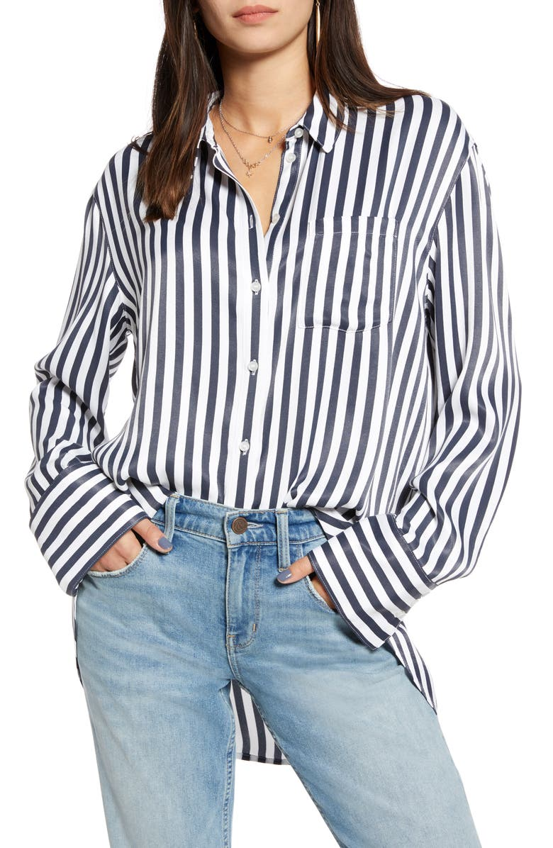 TREASURE & BOND Stripe Boyfriend Shirt, Main, color, NAVY BLUE WIDE STRIPE