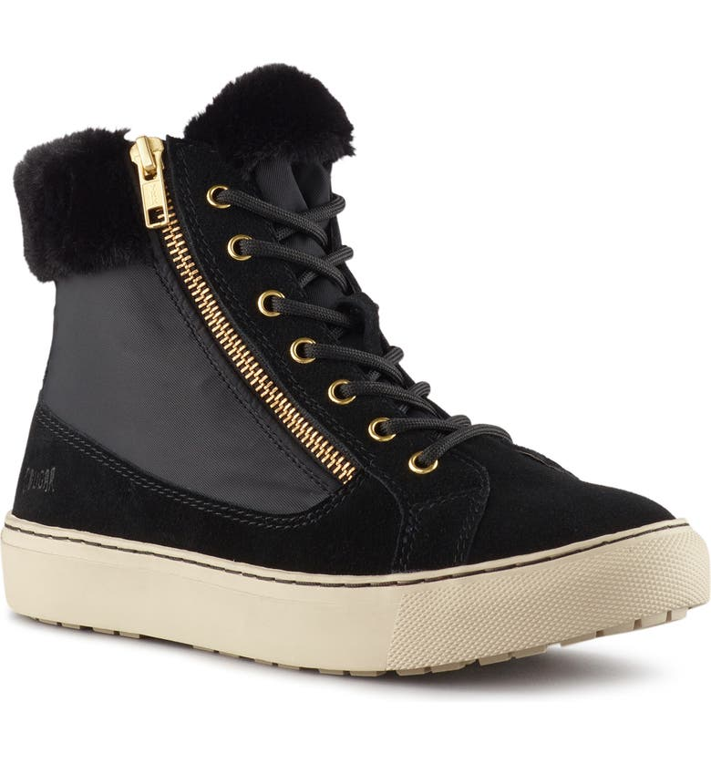 COUGAR Dublin High Top Sneaker with Faux Fur Cuff, Main, color, BLACK SUEDE