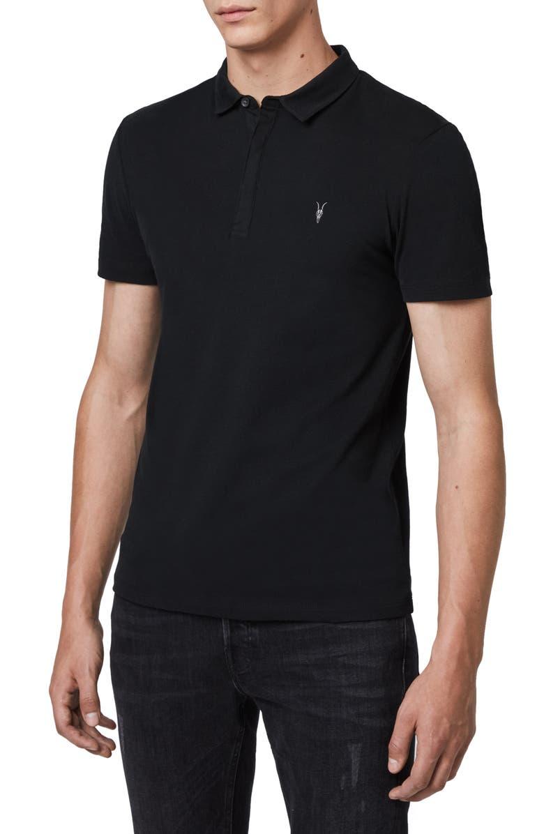 ALLSAINTS Brace Slim Fit Solid Polo, Main, color, JET BLACK