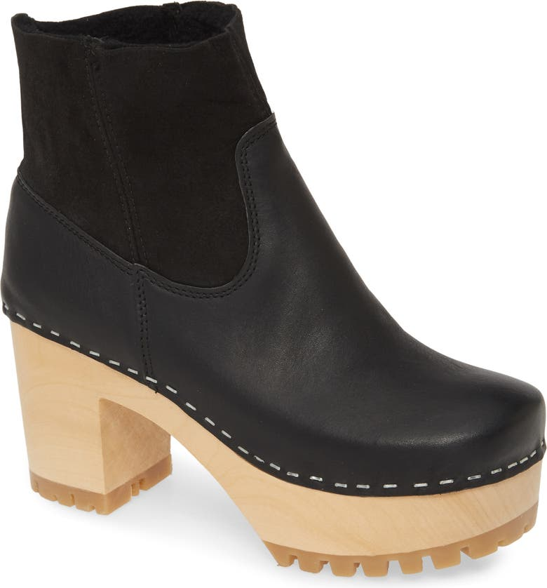SWEDISH HASBEENS Genuine Shearling Lined Boot, Main, color, 001