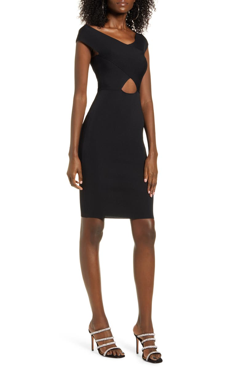 ALL IN FAVOR Cutout Sweater Dress, Main, color, BLACK