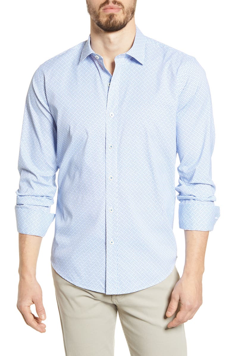BUGATCHI Shaped Fit Print Button-Up Performance Shirt, Main, color, AIR BLUE